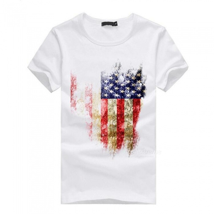 3D American Flag Pattern Fashion Personality Casual Cotton Short Sleeved T-shirt for Men - White (XL)Tees<br>Form  ColorWhiteSizeXLQuantity1 pieceShade Of ColorWhiteMaterialCottonShoulder Width50 cmChest Girth100 cmSleeve Length20 cmTotal Length69 cmSuitable for Height175 cmPacking List1 x Cotton short-sleeved T-shirt<br>