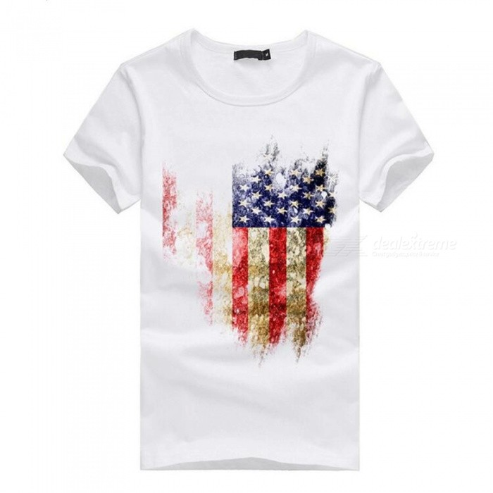 3D American Flag Pattern Fashion Personality Casual Cotton Short Sleeved T-shirt for Men - White (2XL)Tees<br>Form  ColorWhiteSizeXXLQuantity1 DX.PCM.Model.AttributeModel.UnitShade Of ColorWhiteMaterialCottonShoulder Width52.5 DX.PCM.Model.AttributeModel.UnitChest Girth105 DX.PCM.Model.AttributeModel.UnitSleeve Length20.5 DX.PCM.Model.AttributeModel.UnitTotal Length71 DX.PCM.Model.AttributeModel.UnitSuitable for Height180 DX.PCM.Model.AttributeModel.UnitPacking List1 x Cotton short-sleeved T-shirt<br>