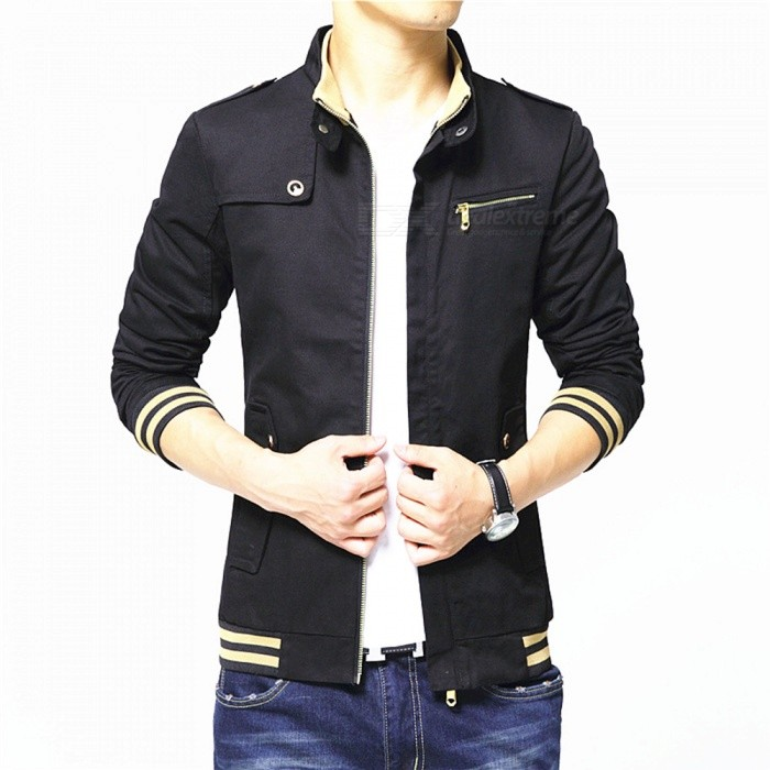 1606 Mens Slim Casual Fashion Cotton Jacket Coat - Black (XL)Jackets and Coats<br>Form  ColorBlackSizeXLQuantity1 pieceShade Of ColorBlackMaterialPolyester and cottonStyleFashionTop FlyZipperShoulder Width45.5 cmChest Girth110 cmWaist Girth89 cmSleeve Length66.5 cmTotal Length68 cmSuitable for Height175 cmPacking List1 x Coat<br>