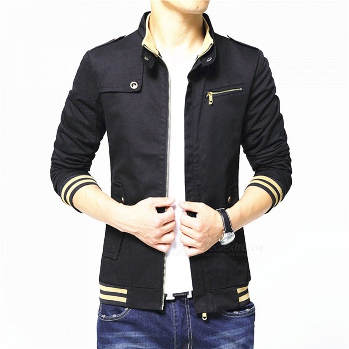 1606 Mens Slim Casual Fashion Cotton Jacket Coat - Black (3XL)Jackets and Coats<br>Form  ColorBlackSizeXXXLQuantity1 pieceShade Of ColorBlackMaterialPolyester and cottonStyleFashionTop FlyZipperShoulder Width48.5 cmChest Girth118 cmWaist Girth95 cmSleeve Length68 cmTotal Length72 cmSuitable for Height183 cmPacking List1 x Coat<br>
