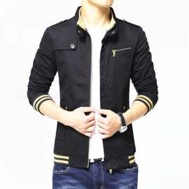 1606 Men's Slim Casual Fashion Cotton Jacket Coat - Black (4XL)