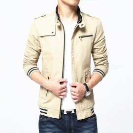 1606 Men's Slim Casual Fashion Cotton Jacket Coat - Khaki (XL)