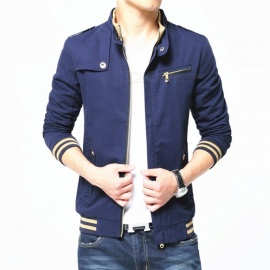 1606 Men's Slim Casual Fashion Cotton Jacket Coat - Blue (L)
