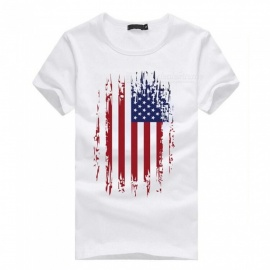 3D Straight Flag Pattern Fashion Personality Casual Cotton Short-Sleeved T-shirt for Men - White (XL)