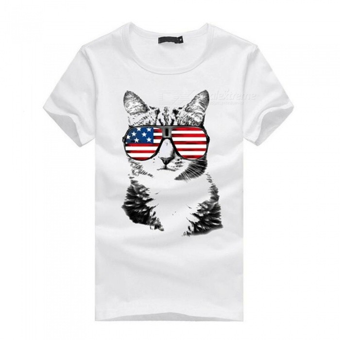 3D Glasses Cat Pattern Fashion Casual Cotton Short Sleeve T-Shirt for Men - White (M)Tees<br>Form  ColorWhiteSizeMQuantity1 pieceShade Of ColorWhiteMaterialCottonShoulder Width46 cmChest Girth92 cmSleeve Length19 cmTotal Length65 cmSuitable for Height165 cmPacking List1 x Short sleeve T-shirt<br>