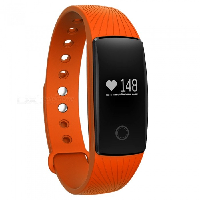 Eastor V05C IP65 Waterproof Bluetooth V4.0 Smartband Bracelet w/ Sedentary Reminder, Sleep Monitor, Pedometer - OrangeSmart Bracelets<br>Form  ColorOrangeModelV05CQuantity1 DX.PCM.Model.AttributeModel.UnitMaterialABSShade Of ColorOrangeWater-proofIP65Bluetooth VersionBluetooth V4.0Touch Screen TypeYesOperating SystemNoCompatible OSAndroid iOSBattery Capacity70 DX.PCM.Model.AttributeModel.UnitBattery TypeLi-polymer batteryStandby Time1200 DX.PCM.Model.AttributeModel.UnitPacking List1 x Smart band1 x Charging Cable (15cm)<br>