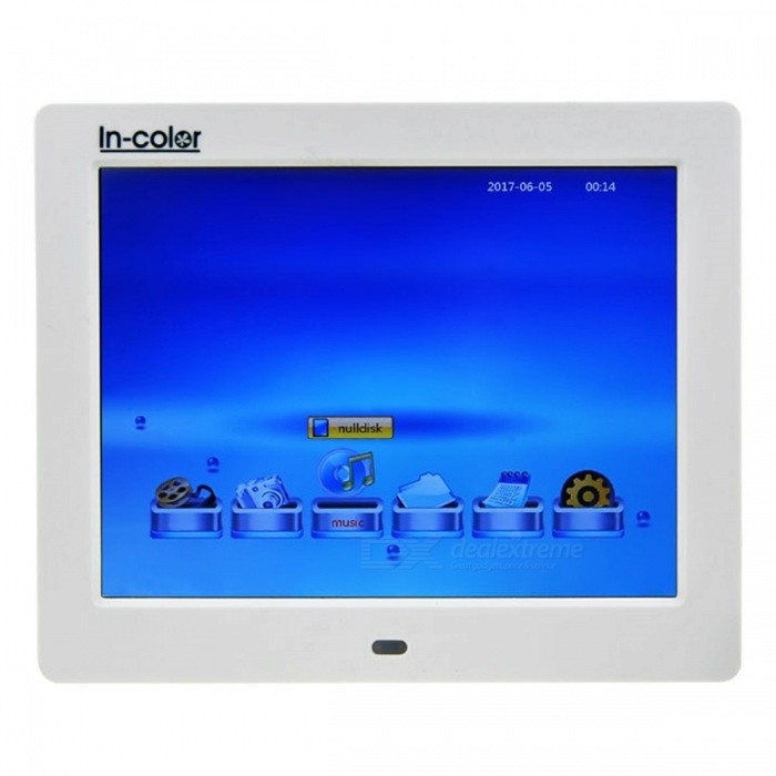 IN-Color 8 Digital Photo Frame, Support 800 x 600 Video, Music, Scroll Caption Advertising, Calendar, Clock, MP3, MP4 - WhiteDigital Photo Frames<br>Form  ColorWhiteModel806MaterialPlasticQuantity1 DX.PCM.Model.AttributeModel.UnitShade Of ColorWhiteScreen Size8 DX.PCM.Model.AttributeModel.UnitScreen Pixels480000Resolution800 x 600Display Mode4: 3Screen TypeOLEDBuilt-in Memory / RAMNoSupports Card TypeSD,MicroSD (TF),Others,USBMax Extended Capacity32GVideo3GP,DAT,MKV,MOV,MP4,MPEG,RMVB,VOB,WMVAudio Compression FormatAAC,CDA,MP3,WAV,WMAHeadphone Jack3.5mmConnectionMicro USB,USB 2.0,Others,USBBattery Capacity2000 DX.PCM.Model.AttributeModel.UnitPower AdapterUS PlugPower Supply5VForm  ColorWhitePacking List1 x Power Adapter (AC 110-240V 50/60Hz, 5V 2A)1 x Remote Control1 x English Manual1 x Bracket<br>