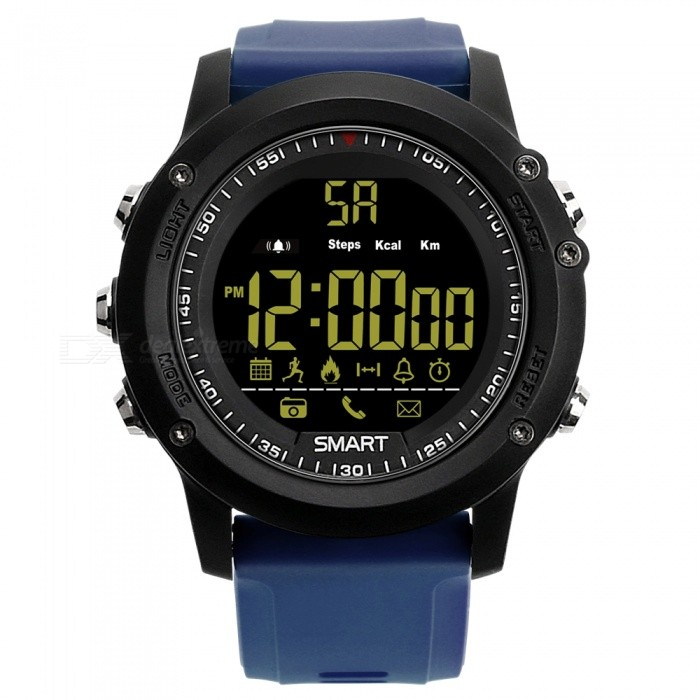 EX17 Sports Bluetooth Intelligent Waterproof IP67 Smartwatch with Alarm Clock Pedometer - Blue + BlackSmart Watches<br>Form  ColorBlue + Black + Multi-ColoredQuantity1 setMaterialABSShade Of ColorBlueCPU ProcessorSI-BW03Screen Size1.12 inchScreen Resolution12 FSTN LCDTouch Screen TypeYesBluetooth VersionBluetooth V4.0Compatible OSAndrews Android4.4 and iOS8.0 aboveLanguageEnglishWristband Length22 cmWater-proofIP67Battery ModeReplacementBattery TypeCR2032 batteryBattery Capacity210 mAhStandby Time12 monthForm  ColorBlue + Black + Multi-ColoredPacking List1 x Smart Watch1 x Manual<br>