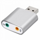 USB 7.1 Independent 3D Sound Card Adapter w/ 3.5mm Audio Port - Silver