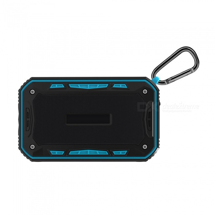 S618 Outdoor IP6 Waterproof Wireless Bluetooth BK4.1 Stereo Speaker - Blue + BlackBluetooth Speakers<br>Form  ColorBlue + BlackModelS618MaterialABSQuantity1 DX.PCM.Model.AttributeModel.UnitShade Of ColorBlueBluetooth HandsfreeYesBluetooth VersionOthers,Bluetooth BK4.1Operating Range10 metersTotal Power6 DX.PCM.Model.AttributeModel.UnitFrequency Response2.402-2.480GHzSupports Card TypeMicroSD (TF)Built-in Battery Capacity 2000 DX.PCM.Model.AttributeModel.UnitBattery TypeLi-polymer batteryTalk Time8 DX.PCM.Model.AttributeModel.UnitMusic Play Time8 DX.PCM.Model.AttributeModel.UnitPacking List1 x Bluetooth Speaker1 x Audio Cable (50cm)1 x Charging Cable(70cm)1 x Carabiner1 x English Manual<br>