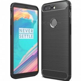 ASLING Protective Carbon Fiber TPU Soft Cover for OnePlus 5T - Black