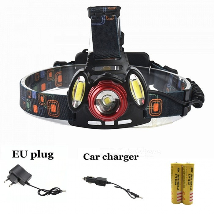 ZHAOYAO XM-L T6 COB Waterproof 3-LED 4-Mode Zooming Rechargeable Headlight with EU Charger + Car Charger + 2Pcs 18650 BatteriesHeadlamps<br>Form  ColorBlack + Red (EU Charger)Quantity1 DX.PCM.Model.AttributeModel.UnitMaterialAluminum alloy + plasticsEmitter BrandCreeLED TypeXM-LEmitter BINT6Color BINWhiteNumber of Emitters3Working Voltage   3.7-7.4 DX.PCM.Model.AttributeModel.UnitPower Supply18650Current1.5 DX.PCM.Model.AttributeModel.UnitActual Lumens300-1200 DX.PCM.Model.AttributeModel.UnitRuntimeDepends on the battery quantities. DX.PCM.Model.AttributeModel.UnitNumber of Modes4Mode ArrangementHi,Mid,Low,Fast StrobeMode MemoryNoSwitch TypeForward clickySwitch LocationHeadLensOthers,ResinReflectorNoBand Length20 DX.PCM.Model.AttributeModel.UnitCompatible Circumference40-80cmBeam Range50-150 DX.PCM.Model.AttributeModel.UnitPacking List1 x Headlight1 x EU charger1 x Car charger2 x 18650 Lithium batteries<br>