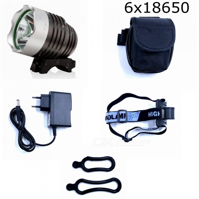 ZHAOYAO XML T6 Waterproof 3-Mode 1000LM Super Bright Bicycle Headlight Flashlight Light w/ Batteries and EU ChargerBike Lights<br>Form  ColorBlack + Silver (EU Charger)ModelT6-3Quantity1 DX.PCM.Model.AttributeModel.UnitMaterialAluminium alloyEmitter BrandCreeLED TypeXM-LEmitter BINT6Number of Emitters1Color BINWhiteWorking Voltage   8.4 DX.PCM.Model.AttributeModel.UnitPower Supply18650 batteries packCurrent1 DX.PCM.Model.AttributeModel.UnitActual Lumens350-1000 DX.PCM.Model.AttributeModel.UnitRuntime2-6 DX.PCM.Model.AttributeModel.UnitNumber of Modes3Mode ArrangementHi,Low,Fast StrobeMode MemoryNoSwitch TypeReverse clickyLensGlassReflectorAluminum SmoothFlashlight MountingHandlebarSwitch LocationHeadBeam Range50-150 DX.PCM.Model.AttributeModel.UnitPacking List1 x Headlight 6 x 18650 batteries pack 1 x EU charger (100~240V)2 x Rubber rings<br>