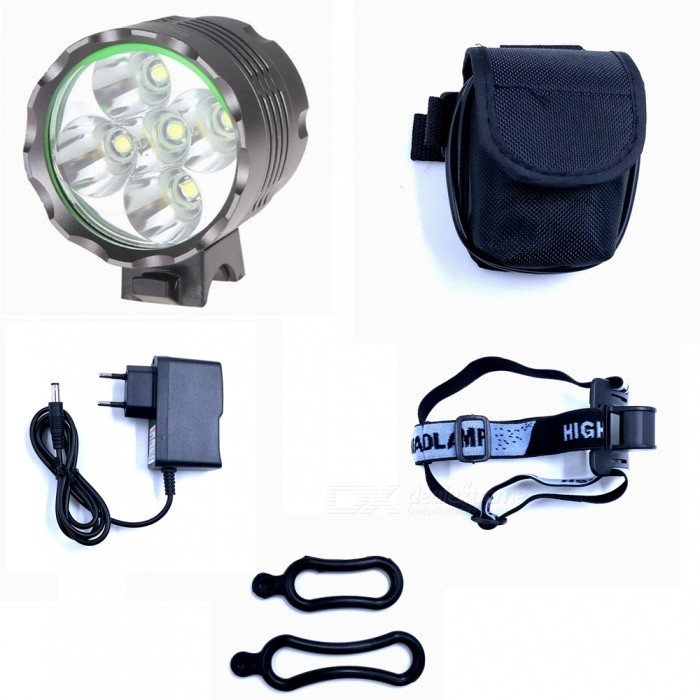 ZHAOYAO XML T6 5-LED Waterproof 3-Mode 3500LM Super Bright Bicycle Headlight Flashlight Light w/ Batteries and EU ChargerBike Lights<br>Form  ColorGrey (EU Charger)Model5xT6-3Quantity1 DX.PCM.Model.AttributeModel.UnitMaterialAluminium alloyEmitter BrandCreeLED TypeXM-LEmitter BINT6Number of Emitters5Color BINWhiteWorking Voltage   8.4 DX.PCM.Model.AttributeModel.UnitPower Supply18650 batteries packCurrent2.5 DX.PCM.Model.AttributeModel.UnitActual Lumens700-3500 DX.PCM.Model.AttributeModel.UnitRuntime2-5 DX.PCM.Model.AttributeModel.UnitNumber of Modes3Mode ArrangementHi,Low,Fast StrobeMode MemoryNoSwitch TypeReverse clickyLensGlassReflectorAluminum SmoothFlashlight MountingHandlebarSwitch LocationHeadBeam Range50-200 DX.PCM.Model.AttributeModel.UnitPacking List1 x Headlight 6 x 18650 batteries pack 1 x EU charger (100~240V)2 x Rubber rings<br>