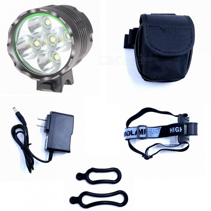 ZHAOYAO XML T6 5-LED Waterproof 3-Mode 3500LM Super Bright Bicycle Headlight Flashlight Light w/ Batteries and US ChargerBike Lights<br>Form  ColorGrey (US Charger)Model5xT6-3Quantity1 DX.PCM.Model.AttributeModel.UnitMaterialAluminium alloyEmitter BrandCreeLED TypeXM-LEmitter BINT6Number of Emitters5Color BINWhiteWorking Voltage   8.4 DX.PCM.Model.AttributeModel.UnitPower Supply18650 batteries packCurrent2.5 DX.PCM.Model.AttributeModel.UnitActual Lumens700-3500 DX.PCM.Model.AttributeModel.UnitRuntime2-5 DX.PCM.Model.AttributeModel.UnitNumber of Modes3Mode ArrangementHi,Low,Fast StrobeMode MemoryNoSwitch TypeReverse clickyLensGlassReflectorAluminum SmoothFlashlight MountingHandlebarSwitch LocationHeadBeam Range50-200 DX.PCM.Model.AttributeModel.UnitPacking List1 x Headlight 6 x 18650 batteries pack 1 x US charger (100~240V)2 x Rubber rings<br>