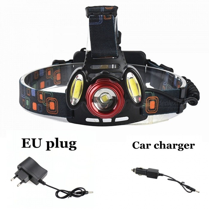 ZHAOYAO XM-L T6 COB Waterproof 3-LED 3-Mode Zooming Rechargeable Headlight with EU Charger + Car ChargerHeadlamps<br>Form  ColorBlack + Red (EU Charger)Quantity1 setMaterialAluminum alloy + plasticsEmitter BrandCreeLED TypeXM-LEmitter BINT6Color BINWhiteNumber of Emitters3Working Voltage   3.7-7.4 VPower Supply18650Current1.5 AActual Lumens300-1200 lumensRuntimeDepends on the battery quantities hourNumber of Modes3Mode ArrangementHi,Low,Fast StrobeMode MemoryNoSwitch TypeForward clickySwitch LocationHeadLensOthers,ResinReflectorNoBand Length20 cmCompatible Circumference40-80cmBeam Range50-150 mPacking List1 x Headlight1 x EU charger1 x Car charger<br>