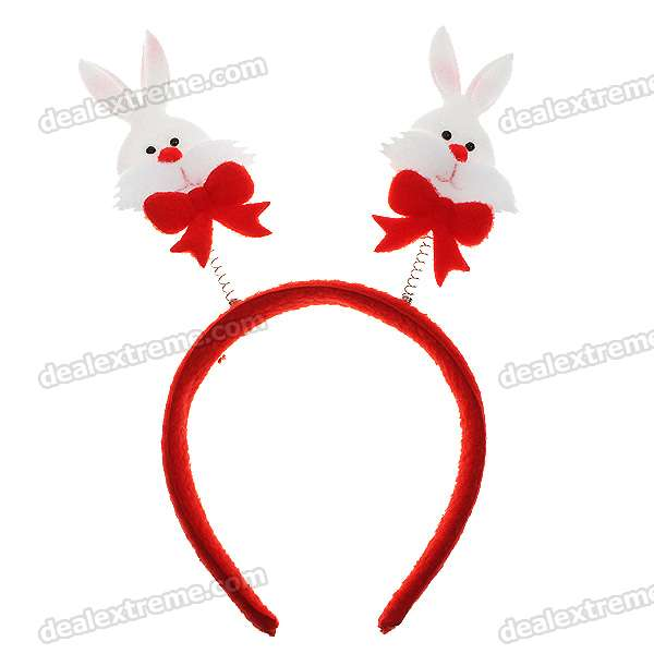 Festive Christmas Decoration Headband Hair Band - Dual Spring Support Cartoon Rabbit Figure (2-Pack) velvet knot headband