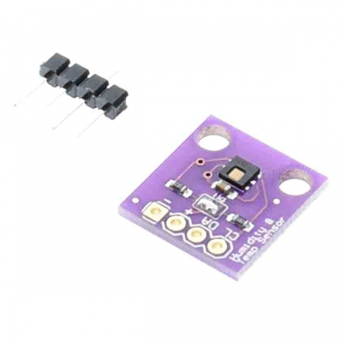 Produino GY-213V-HTU21D Temperature &amp; Humidity Sensor ModuleSensors<br>Form  ColorPurpleModelGY-213V-HUT21DQuantity1 DX.PCM.Model.AttributeModel.UnitMaterialPCBApplicationThe HTU21D is a low-cost, easy to use, highly accurate, digital humidity and temperature sensor.<br>This sensor is ideal for environmental sensing and data logging and perfect for a weather stations or<br>humidor control systems. All you need is two lines for I2C communication and<br>youll have relative humidity readings and very accurate temperature readings as a bonus!Working Voltage   5 DX.PCM.Model.AttributeModel.UnitEnglish Manual / SpecNoDownload Link   NOPacking List1 x Module<br>