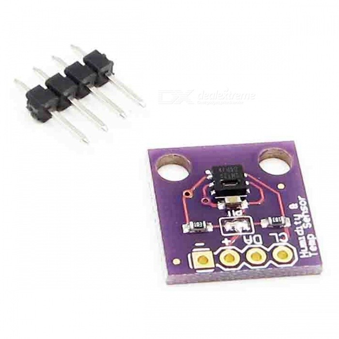 Produino GY-213V-SHT20 SHT20 Temperature &amp; Humidity Sensor ModuleSensors<br>Form  ColorPurpleModelGY-213V-SHT20Quantity1 setMaterialPCBApplicationIndoor weather stations;<br>Micro-environments/data centers;<br>Automotive climate control and defogging;<br>Asset and goods tracking;<br>Mobile phones and tablets;Working Voltage   1.5-3.6 VEnglish Manual / SpecNoDownload Link   NOPacking List1 x Module<br>