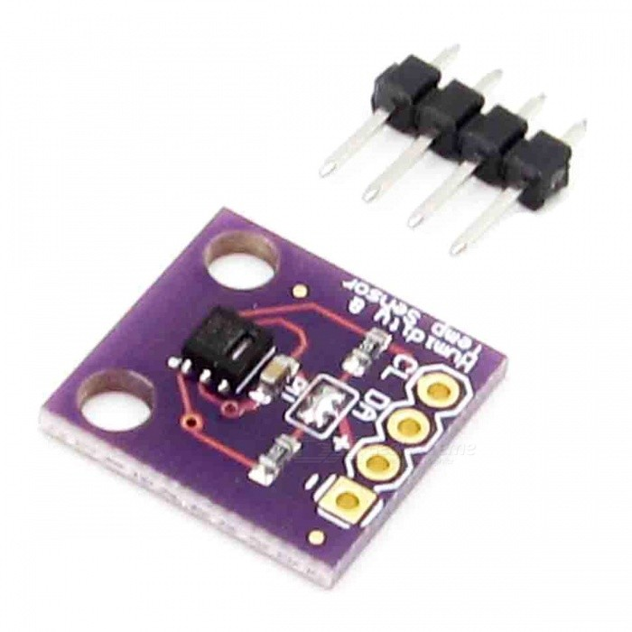 Produino GY-213V-SHT21 I2C IIC Humidity &amp; Temperature Sensor ModuleSensors<br>Form  ColorPurpleModelGY-213V-SHT21Quantity1 DX.PCM.Model.AttributeModel.UnitMaterialPCBApplication* Homes, basements and HVAC systems for measuring humidity;<br>* People with physical conditions sensitive to humidity;<br>* Home ventilating, heating and air conditioning systems;<br>* Meteorology stations to predict or check weather temperatures;<br>* Gardens or greenhouses to check humidity and temperatures;Working Voltage   5 DX.PCM.Model.AttributeModel.UnitEnglish Manual / SpecNoDownload Link   NOPacking List1 x Module<br>