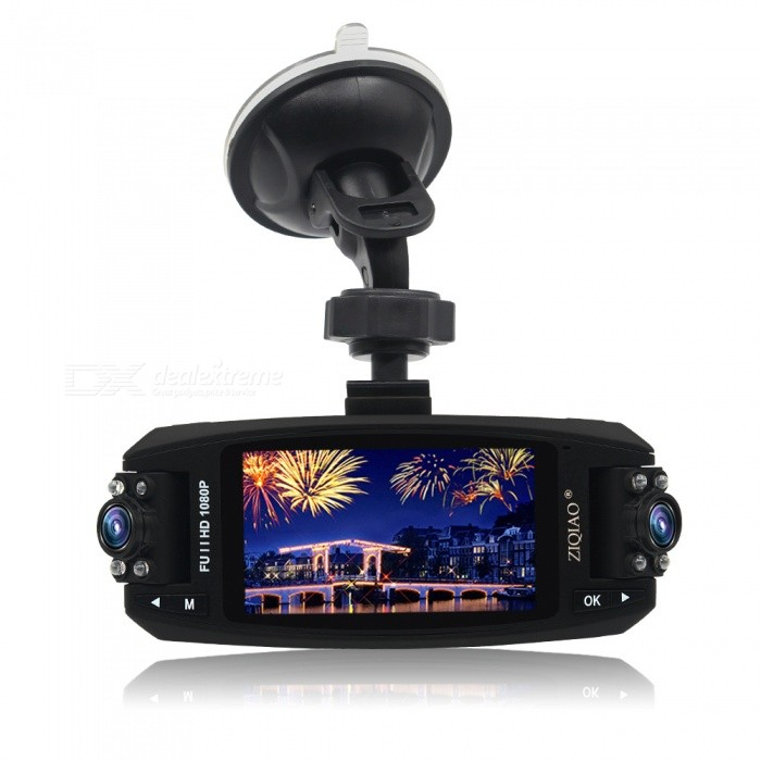 ZIQIAO JL-F80 Full HD 1080P 2.7 Inches WDR Car DVR Video Camcorder w/ 170 Degree Rotation, Night Vision, Rotating Dual LensCar DVRs<br>Form  ColorBlackForm  ColorBlackModelJL-F80Quantity1 DX.PCM.Model.AttributeModel.UnitMaterialABSChipsetNovatekOther FeaturesOthers,Dash Cam Full HD 1080P Video RecorderWide Angle150°-169°Camera Lens2Image SensorCMOSImage Sensor Size1/2.7 inchesCamera Pixel3.0MPWide AngleOthers,170°Screen TypeTFTScreen Size2.7 inchesVideo FormatAVIDecode FormatH.264Video OutputPAL,NTSCVideo ResolutionOthers,1920*1080P /1280*720PVideo Frame Rate30ImagesJPEGStill Image ResolutionOthers,3.0MPMicrophoneYesMotion DetectionYesAuto-Power OnYesLED Qty8IR Night VisionYesG-sensorYesLoop RecordOthers,1/3/5Delay ShutdownYesTime StampYesMax. Capacity32GBStorage ExpansionTFData interfaceMini USBWorking Voltage   12/24 DX.PCM.Model.AttributeModel.UnitBattery Capacity200 DX.PCM.Model.AttributeModel.UnitMenu LanguageOthers,English, Russian, Chinese, Japanese, Thai, German, Spanish, ItalianOther FeaturesNovatek 96220 + OmniVision 9712 sensorPacking List1 x Car DVR (Dual Lens)1 x Bracket Mount1 x Car Charger1 x User Manual<br>
