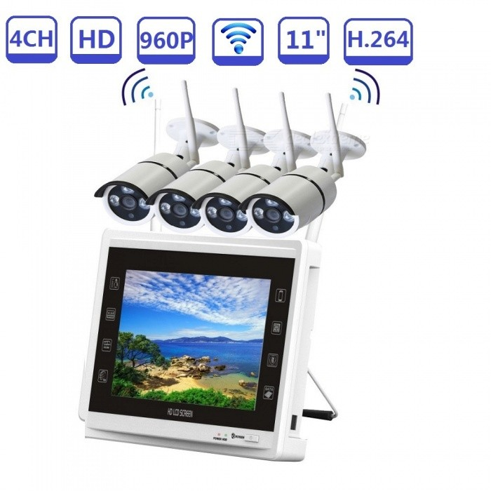 "Strongshine 4CH 960P Wireless Security Camera System with 4Pcs HD 960P Home IP Cameras + Auto Pair 11"" LCD NVR - EU Plug"