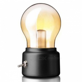 P-TOP Vintage Retro Style Energy-Saving Rechargeable Battery USB Charging Nightlight LED Light Bulb - Black