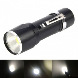 3W COB Super Bright White Light Long-Range LED Flashlight for Outdoor Night Riding - Black