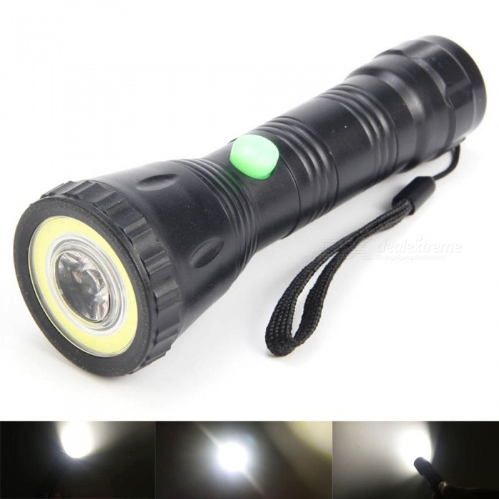 3W COB + LED Super Bright White Light Long Range LED Flashlight for Outdoor Night Riding - BlackAAA Flashlights<br>Form  ColorBlackQuantity1 pieceMaterialABSOther FeaturesWaterproofBrandOthers,N/AEmitter BrandLuminusLED TypeOthers,LEDEmitter BINothers,COB+LEDColor BINCold WhiteNumber of Emitters2Working Voltage   3.6 VPower Supply3*AAANot includedCurrent800 ATheoretical Lumens200 lumensActual Lumens200 lumensRuntime3 hoursNumber of Modes1Mode ArrangementHiMode MemoryNoSwitch TypeReverse clickySwitch LocationSideLensPlasticReflectorNoBeam Range50 mStrap/ClipStrap includedOutput(lumens)1-200Runtime(hours)2.1-3Packing List1 x Flashlight<br>