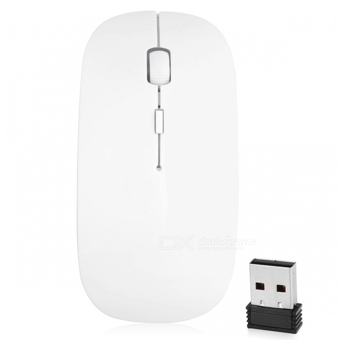 Mini Super Slim Slient 2.4G Wireless Optical Mouse Mice for Notebook PC Laptop Computer - White