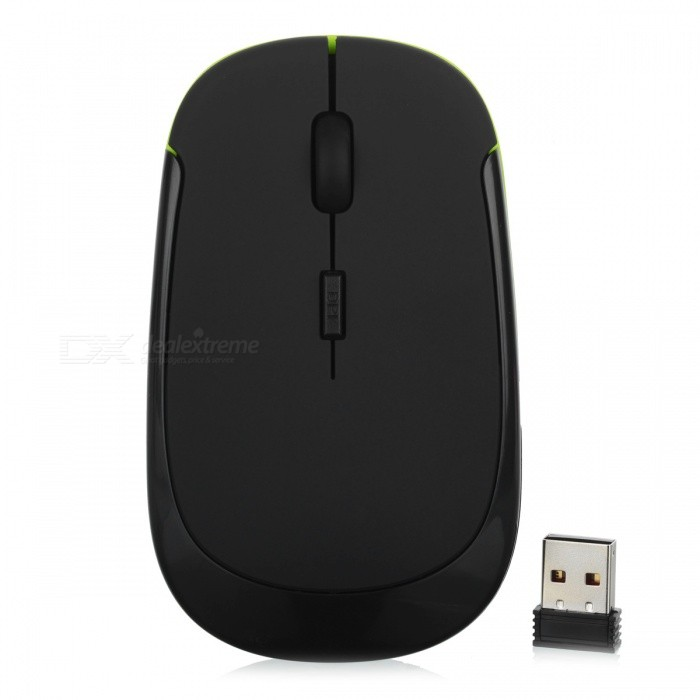 Mini Ultra Thin USB Wireless 2.4G Optical Mouse Mice for Laptop PC - BlackWireless Mouse<br>Form  ColorBlackQuantity1 DX.PCM.Model.AttributeModel.UnitMaterialABSShade Of ColorBlackInterfaceUSB 2.0Wireless or Wired2.4G WirelessOptical TypeLEDMax Acceleration1000 dpiButton life5millionOperating Range10 DX.PCM.Model.AttributeModel.UnitPowered ByAAA BatteryBattery included or notNoBattery Number2Supports SystemWin xp,Win 2000,Win 2008,Win vista,Win7 32,Win7 64,Win8 32,Win8 64,MAC OS X,IOS,LinuxPacking List1 x Wireless Mouse1 x Nano Receiver<br>