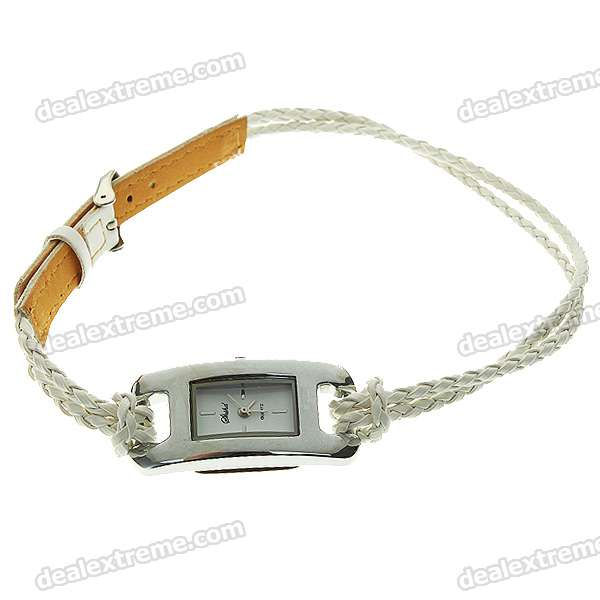 Stylish Quartz Watch with PU Leather + Rope Watch Strap - White (1*377)