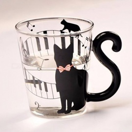 Cute Creative Cat Pattern Glass Mug Cup Tea Cup Milk Coffee Cup Music/Dots/English Words Home Office Cup Music