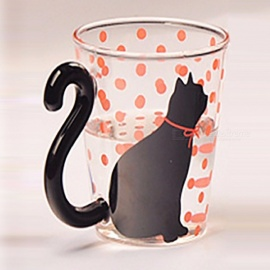 Cute Creative Cat Pattern Glass Mug Cup Tea Cup Milk Coffee Cup Music/Dots/English Words Home Office Cup Red Dots