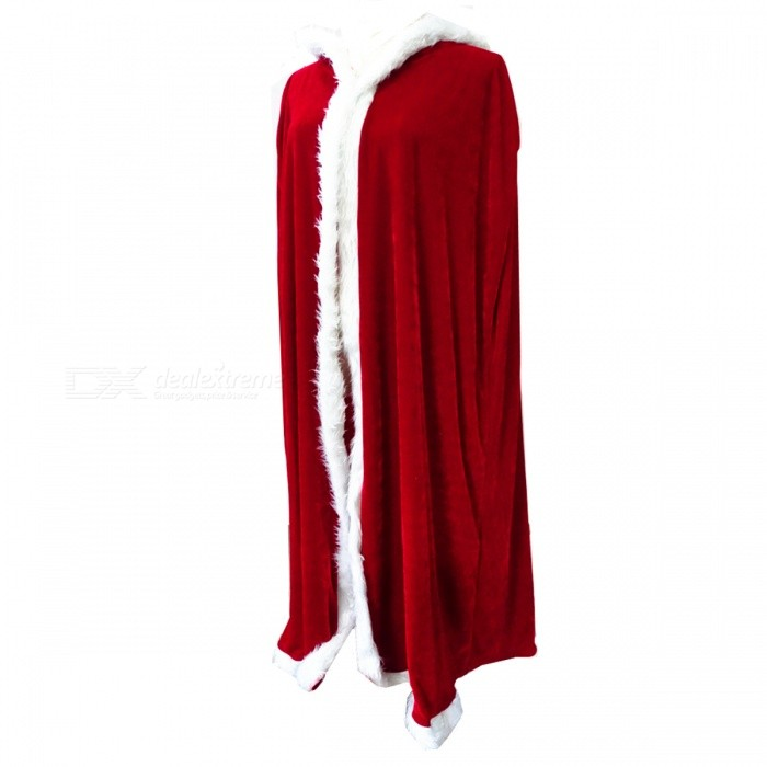 Premium Hooded Cloak for Christmas, Evening Party - Red + White (150cm)Christmas Gadgets<br>Form  ColorRed + White / 150cmMaterialFlanneletteQuantity1 pieceSuitable holidaysChristmasPacking List1 x Cloak<br>
