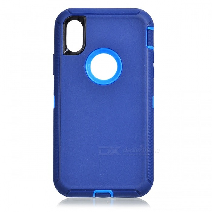 Heavy Duty Kickstand Belt Clip Protective PC + TPU Back Cover Case for IPHONE X - Dark BluePlastic Cases<br>Form  ColorDeep Blue + Light BlueQuantity1 DX.PCM.Model.AttributeModel.UnitMaterialPC + TPUCompatible ModelsiPhone XDesignMixed ColorStyleFull Body CasesPacking List1 x Case<br>