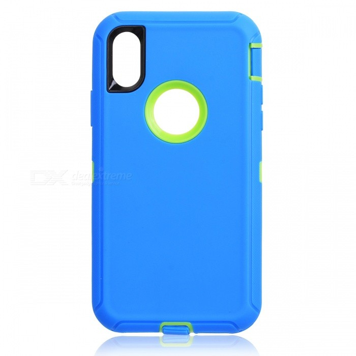 Heavy Duty Kickstand Belt Clip Protective PC + TPU Back Cover Case for IPHONE X - BluePlastic Cases<br>Form  ColorBlue + Yellow GreenQuantity1 DX.PCM.Model.AttributeModel.UnitMaterialPC + TPUCompatible ModelsiPhone XDesignMixed ColorStyleFull Body CasesPacking List1 x Case<br>