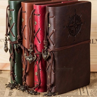 Spiral Notebook, Diary Notepad Vintage Pirate Anchors PU Leather Note Book, Replaceable Stationery Gift Traveler Journal Small 105x145mm/Coffee