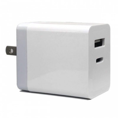 Cwxuan 30W USB Type-C PD Wall Fast Charger w/ USB 5V Port for Macbook Pro, IPHONE X 8Plus, Samsung Xiaomi and More (US Plug)