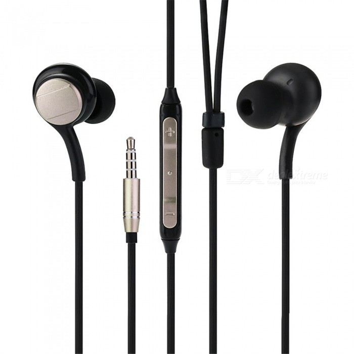 Stylish 3.5mm In-ear Stereo Earphones Music Headphones with Microphone - Black + GoldenHeadphones<br>Form  ColorBlackish GoldenBrandOthers,N/AMaterialABS + siliconeQuantity1 DX.PCM.Model.AttributeModel.UnitConnection3.5mm WiredBluetooth VersionNoCable Length123 DX.PCM.Model.AttributeModel.UnitHeadphone StyleEarbud,In-EarWaterproof LevelIPX2Applicable ProductsUniversalHeadphone FeaturesVolume Control,With Microphone,Lightweight,Game Headset,For Sports &amp; ExerciseSupport Memory CardNoSupport Apt-XNoPacking List1 x Earphones<br>
