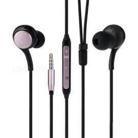 Stylish 3.5mm In-ear Stereo Earphones Music Headphones with Microphone - Black + Pink
