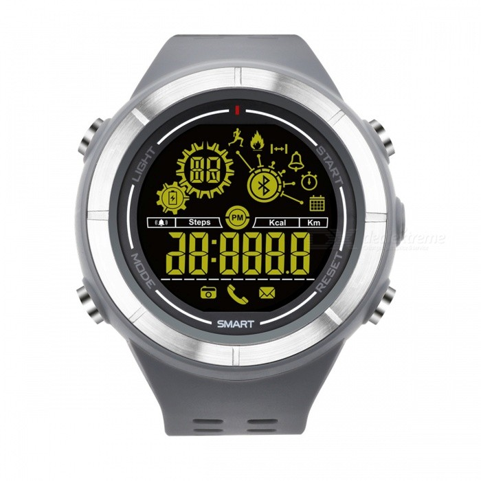 EX32 Outdoor Sports Waterproof Smart Watch with Calls Message Reminder - GreySmart Watches<br>Form  ColorGrey + MulticolorQuantity1 setMaterialABSShade Of ColorGrayCPU ProcessorSI-BW04Screen Size1.5 inchScreen ResolutionFSTN LCDTouch Screen TypeYesBluetooth VersionBluetooth V4.0Compatible OSAndroid 4.4, iOS 8.0 and aboveLanguageEnglishWristband Length22 cmWater-proofIP67Battery ModeNon-removableBattery TypeCR2032 batteryBattery Capacity610 mAhStandby Time1 yearPacking List1 x Smart Watch1 x Manual<br>