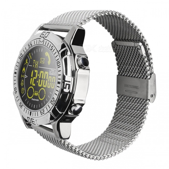 EX28A Sports IP67 Waterproof Smart Watch with Pedometer - SilverSmart Watches<br>Form  ColorSilver + MulticoloredQuantity1 DX.PCM.Model.AttributeModel.UnitMaterialstainless steelShade Of ColorSilverCPU ProcessorSI-BW03Screen Size1.3 DX.PCM.Model.AttributeModel.UnitScreen ResolutionFSTN LCDBluetooth VersionBluetooth V4.0Compatible OSAndroid 4.4, iOS 8.0 and aboveLanguageEnglishWristband Length22 DX.PCM.Model.AttributeModel.UnitWater-proofIP67Battery ModeNon-removableBattery TypeCR2032 batteryBattery Capacity610 DX.PCM.Model.AttributeModel.UnitStandby Time1 DX.PCM.Model.AttributeModel.UnitPacking List1 x Smart Watch1 x Manual<br>
