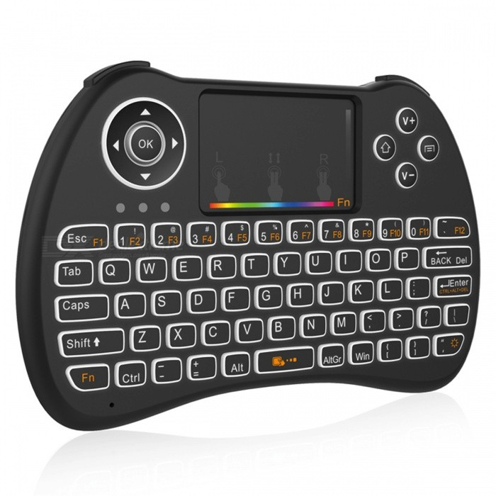 BLCR H9 Mini Wireless 92-Key Keyboard w/ Touchpad, RGB Backlit - BlackWireless Keyboards<br>Form  ColorBlack (RGB Backlit)ModelH9MaterialABSQuantity1 DX.PCM.Model.AttributeModel.UnitInterfaceUSB 2.0Wireless or Wired2.4G WirelessBluetooth VersionNoCompatible BrandAPPLE,Dell,HP,Toshiba,Acer,Lenovo,Samsung,MSI,Sony,IBM,Asus,Thinkpad,Huawei,Google,Others,HTPC, IPTV, Xbox360, PS3, PAD, PC, Android TV Box, Mobile phone(Only bluetooth support)Tracking MethodTouch PadBack-litYesOperation Distanceup to 10 DX.PCM.Model.AttributeModel.UnitAnti-ghosting Key92Powered ByBuilt-in BatteryBattery included or notYesCharging TimeN/A DX.PCM.Model.AttributeModel.UnitBattery Capacity300 DX.PCM.Model.AttributeModel.UnitBattery Number1WaterproofNoTypeAir mouse &amp; KeyboardSupports SystemOthers,Linux (Debian-3.1, Redhat-9.0 Ubuntu-8.10 Fedora-7.0 tested) , Win xp , IOS , Win 2000 , Win vista , Win7 32 , Win7 64 , Win8 32 , Win8 64 , MAC OS XPacking List1 x Keyboard 1 x USB receiver1 x USB Charging Cable1 x English user manual<br>