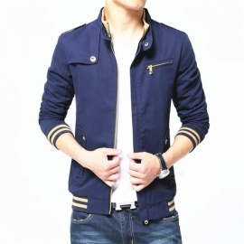 1606 Men's Slim Casual Fashion Cotton Jacket Coat - Blue (3XL)