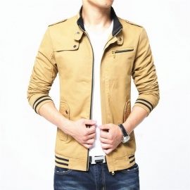 1606 Men's Slim Casual Fashion Cotton Jacket Coat - Khaki (2XL)