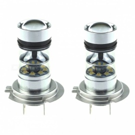 H7 20-LED 100W Car Motorcycle Fog Light Headlight - Silver (2 PCS)