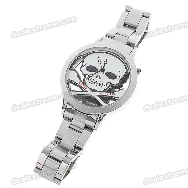 Stainless Steel Wrist Watch with Skull Pattern - White Pattern (1*377)
