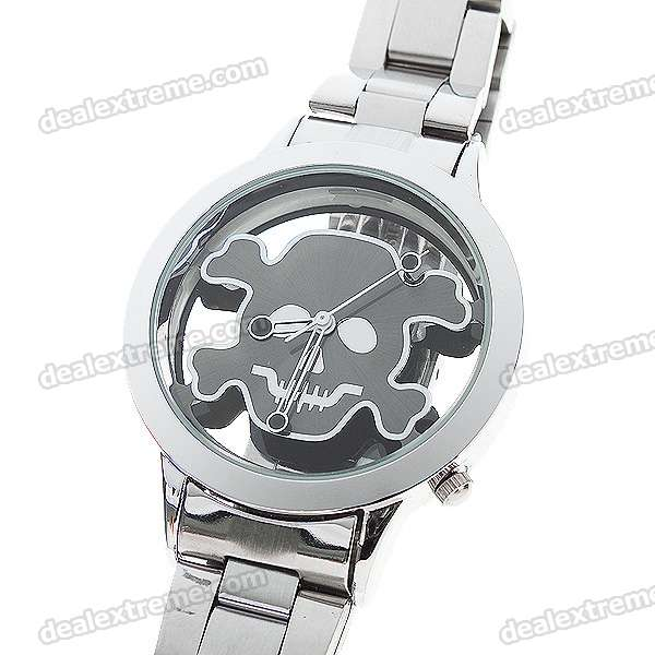 Stainless Steel Wrist Watch with Skull Pattern - Black Pattern (1*377)