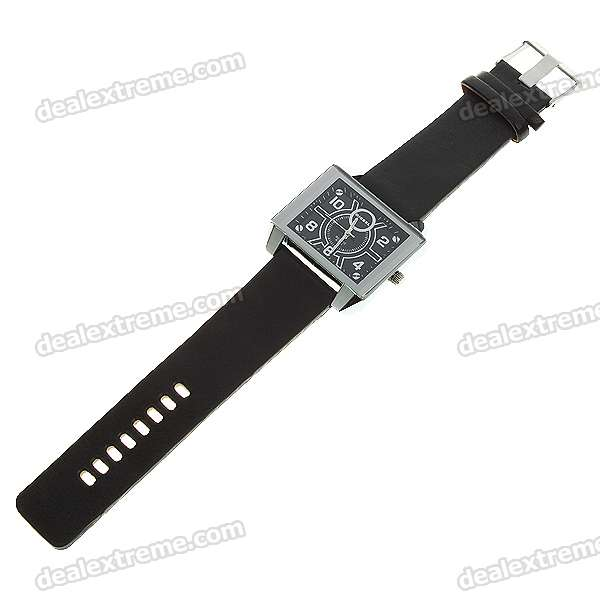 Fashion PU Leather Watchband + Metal Dial Quartz Wrist Watch - Black (1*377)